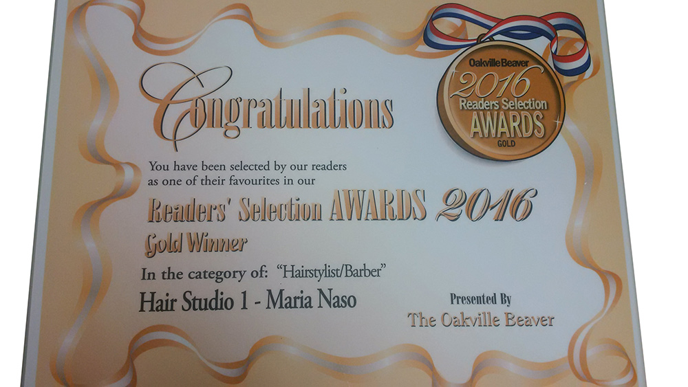 Readers' Selection Awards 2016 Gold Winner for Hairstylist/Barber