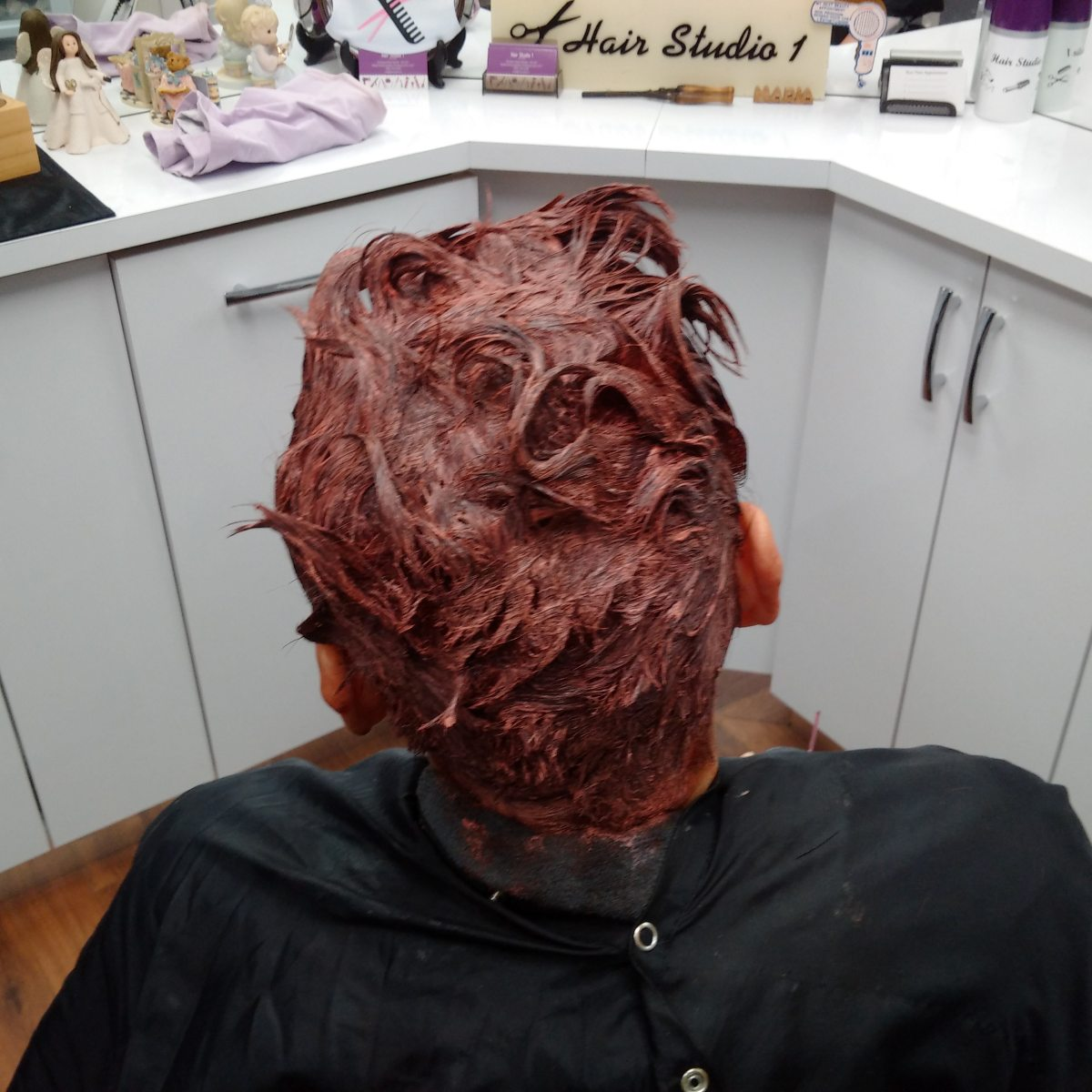 top view of hair after colouring