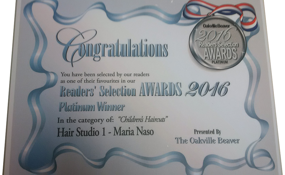 Readers' Selection Awards 2016 Platinum Winner for Children's Haircuts