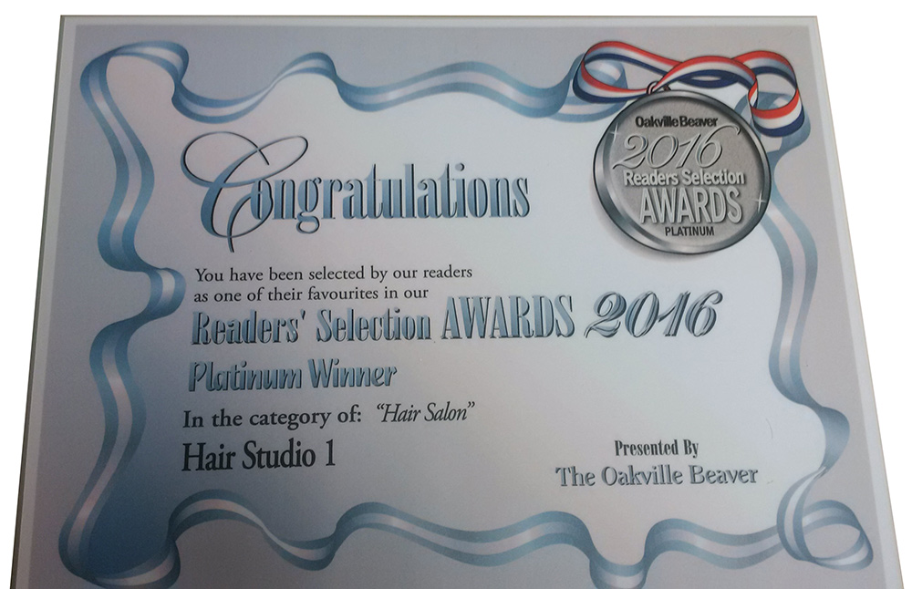 Readers' Selection Awards 2016 Platinum Winner for Hair Salon